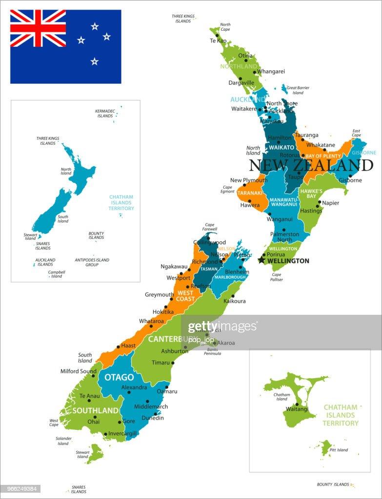 Map of New Zealand - Vector