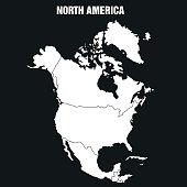 Map of North America Continent - Illustration