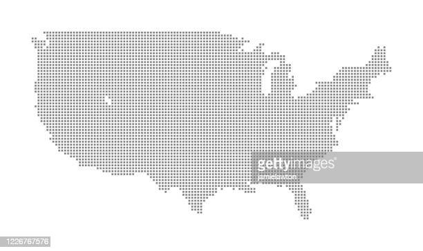 map of north america using squares - digital enhancement stock illustrations