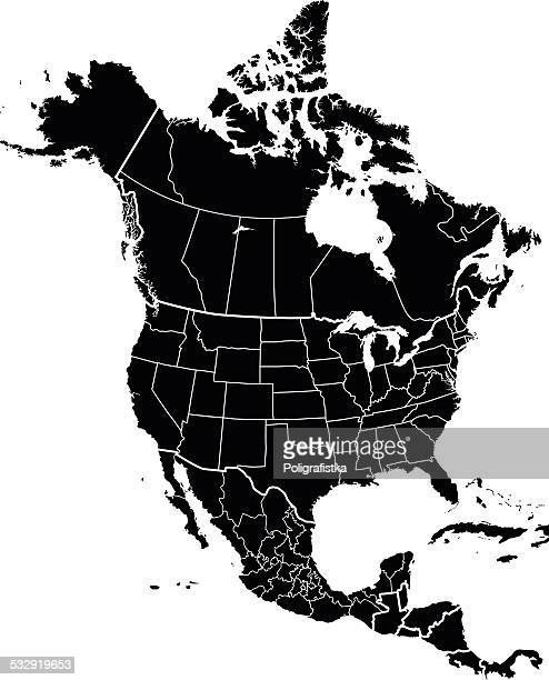 map of north america - north america stock illustrations