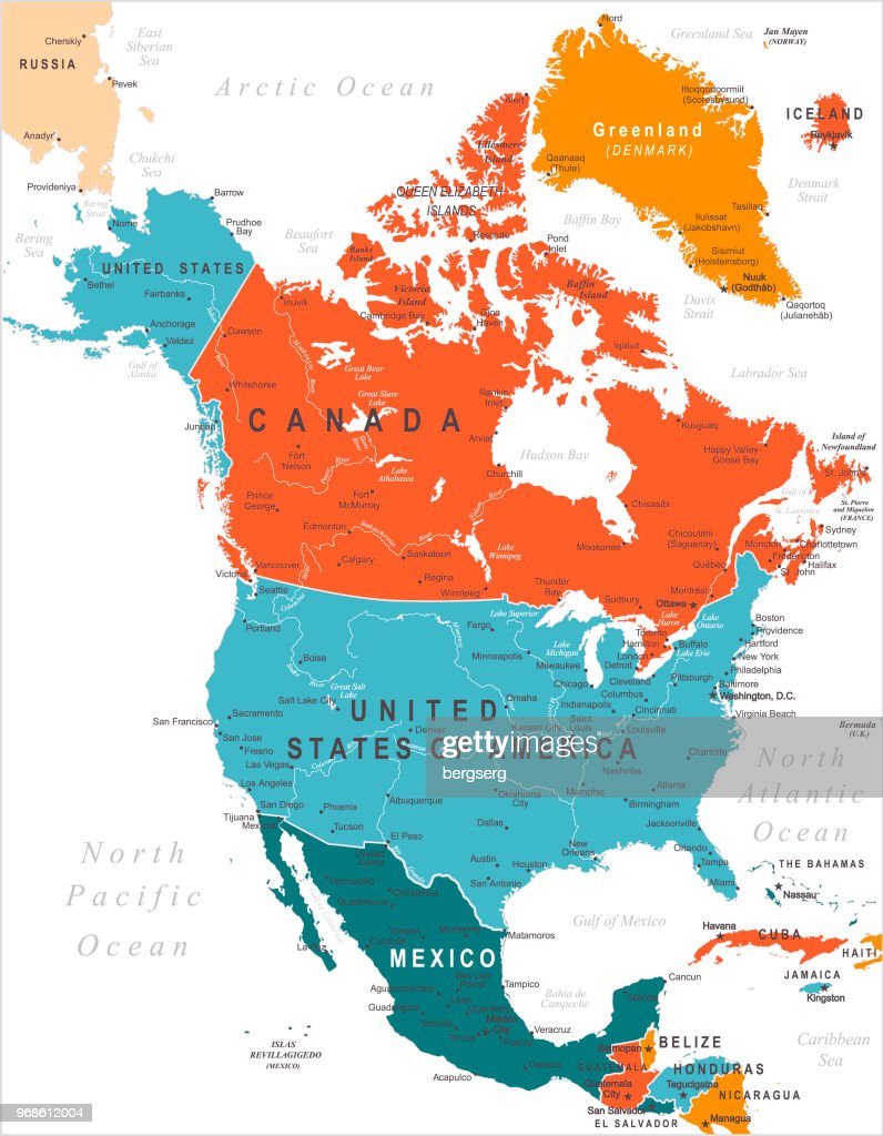 map of north america ベクトルアート getty images