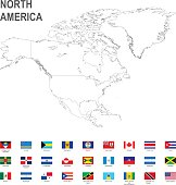 map of North America with flag against white background