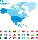 map of North America with flags against white background