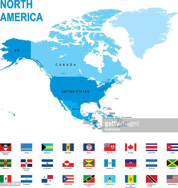 map of north america with flags against white background - central america stock illustrations, clip art, cartoons, & icons