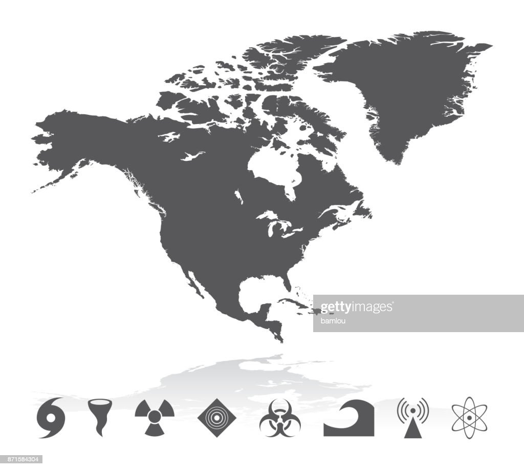 Map Of North America With Natural Disaster Icons Set Vector Art