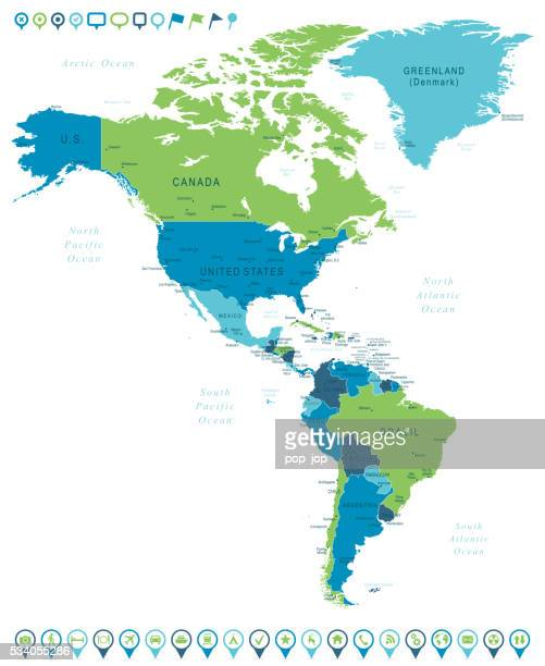 Map of North and South America and Navigation Icons
