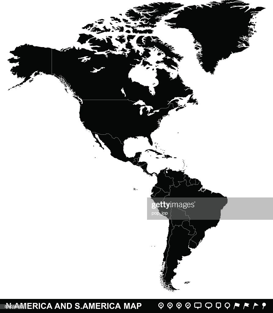 Map Of North And South America And Navigation Icons Vector Art