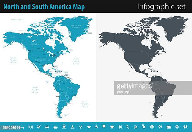 Map of North and South America - Infographic Set