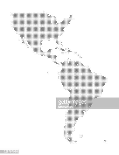 illustrazioni stock, clip art, cartoni animati e icone di tendenza di mappa del nord e sud america con le piazze - america del sud
