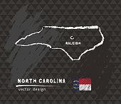 Map of North Carolina, Chalk sketch vector illustration