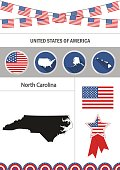 Map of North Carolina. Set of flat design icons nfographics elem