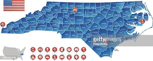 map of north carolina - fayetteville north carolina stock illustrations
