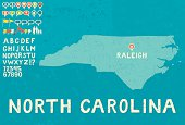 Map of North Carolina with icons
