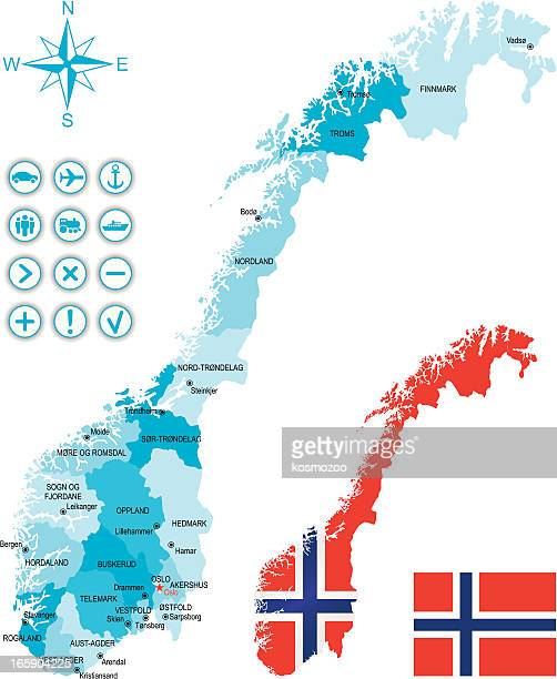 Map of Norway along with national flag