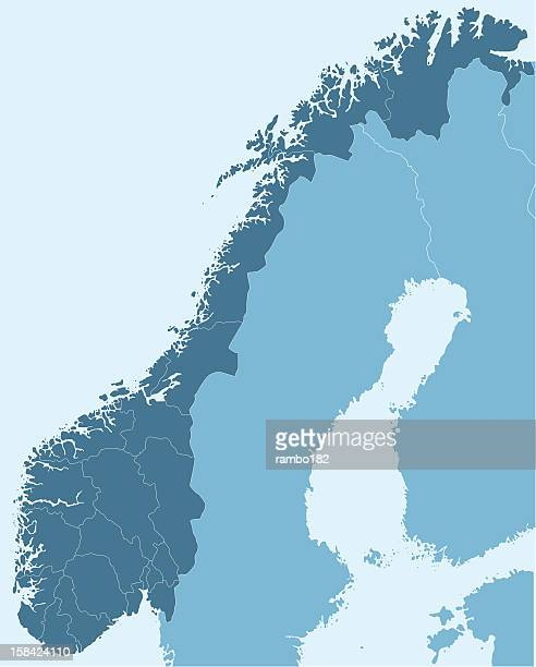 Map of Norway in dark blue over white background