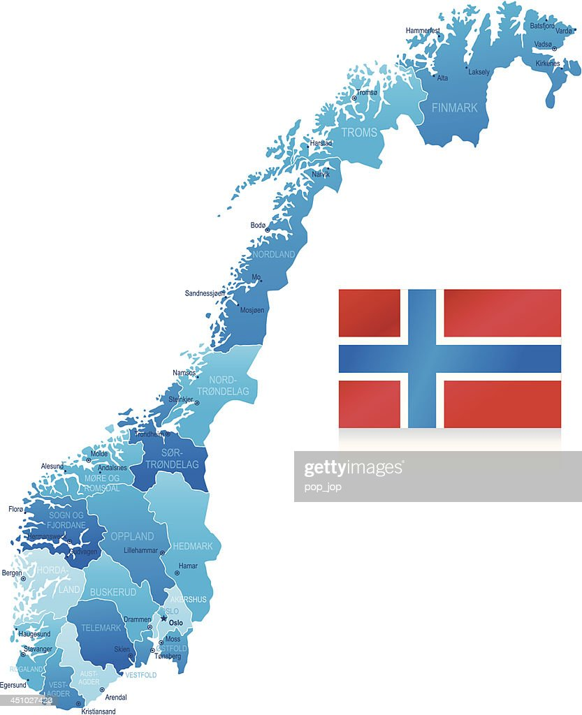 Map Of Norway States Cities And Flag Vector Art Getty Images - Map of cities in norway