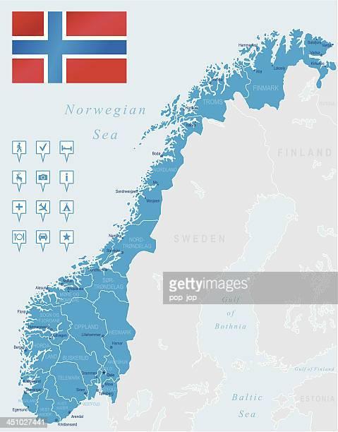 map of ノルウェー-国、都市、国旗、ナビゲーションアイコン - ローガラン県点のイラスト素材/クリップアート素材/マンガ素材/アイコン素材
