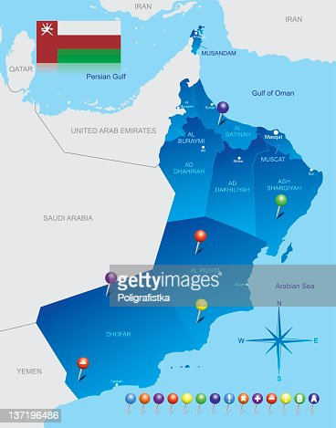 Map Of Oman stock illustration - Getty Images