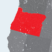 Map of Oregon state with lakes and rivers.