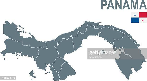 map of panama  with provinces and flag - panama stock illustrations, clip art, cartoons, & icons