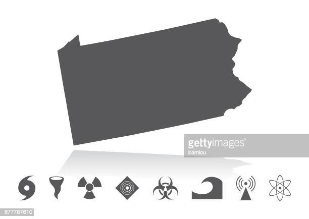 Map of Pennsylvania Disaster Icons Set