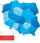Map of Poland - states, cities and flag