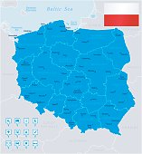 Map of Poland - states, cities, flag, navigation icons
