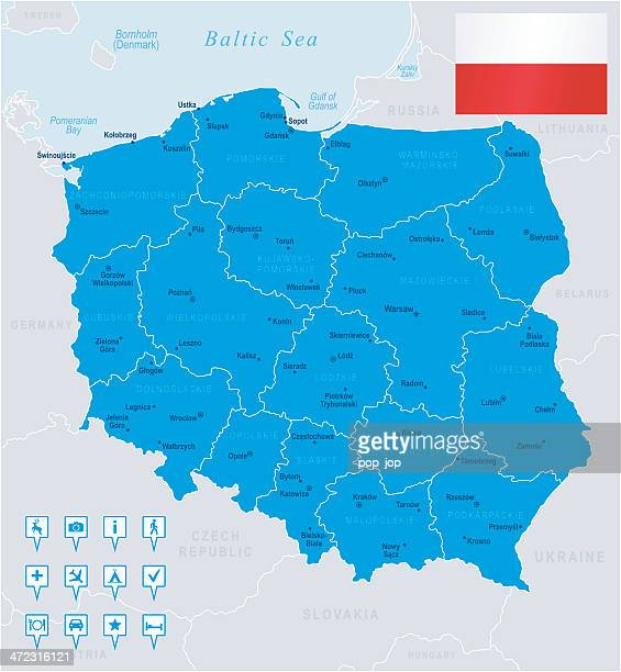 stockillustraties, clipart, cartoons en iconen met map of poland - states, cities, flag, navigation icons - polen
