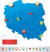 Map of Poland with navigation icons