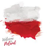 Map of Poland with the decoration of the national flag.