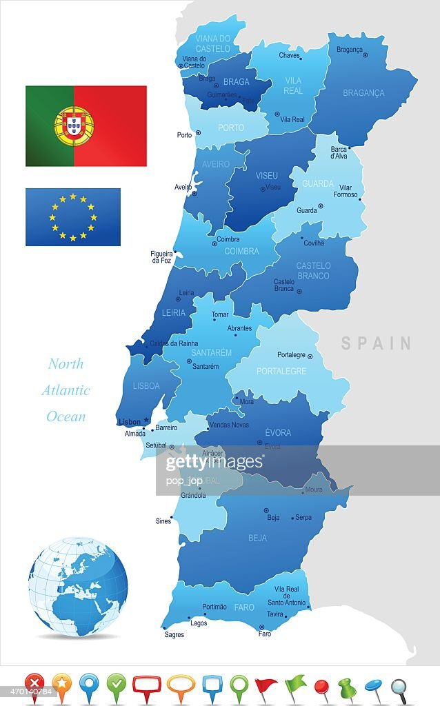 Portogallo Cartina Geografica Politica.Mappa Del Portogallo Illustrazione Stock Getty Images