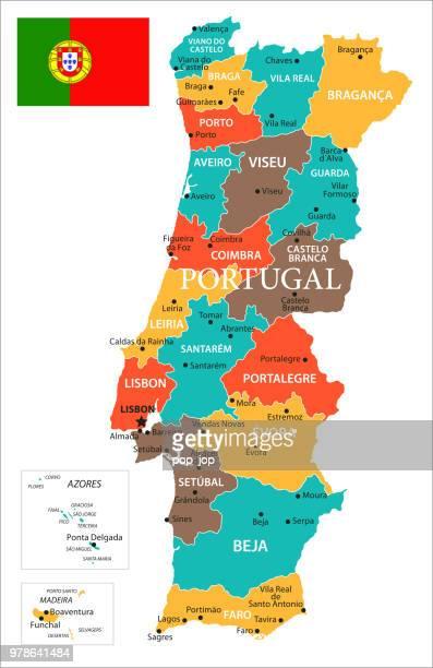 karte von portugal - vektor - portugal stock-grafiken, -clipart, -cartoons und -symbole