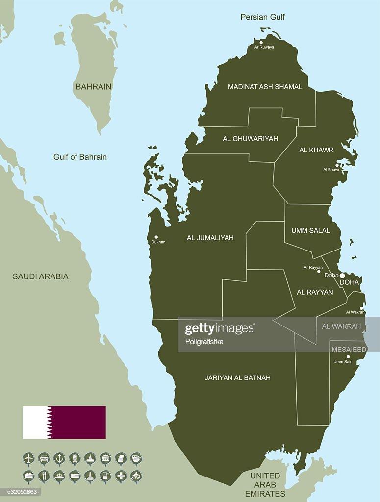 Map of Qatar : stock illustration