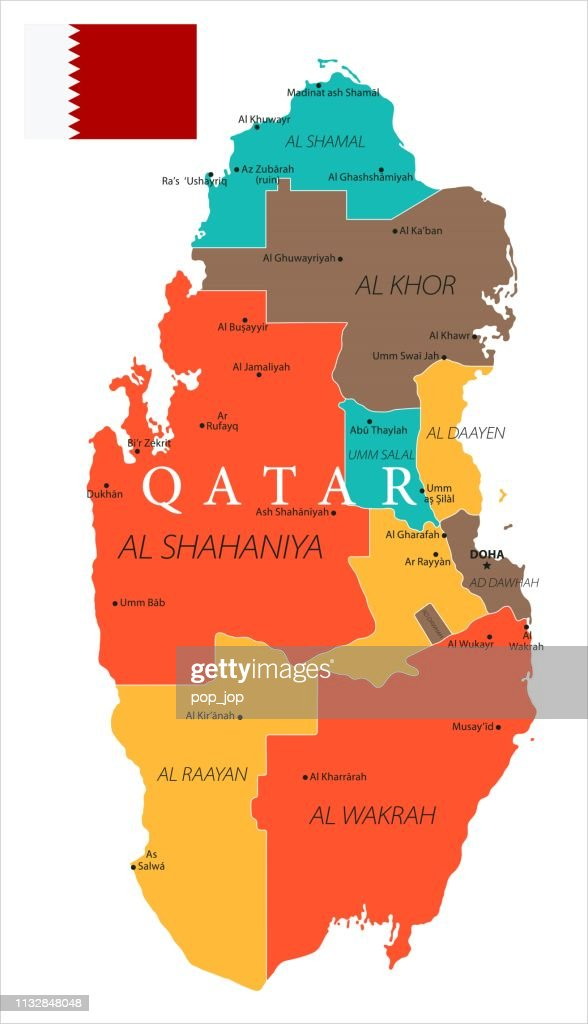 Map Of Qatar Vector Stock Illustration - Getty Images