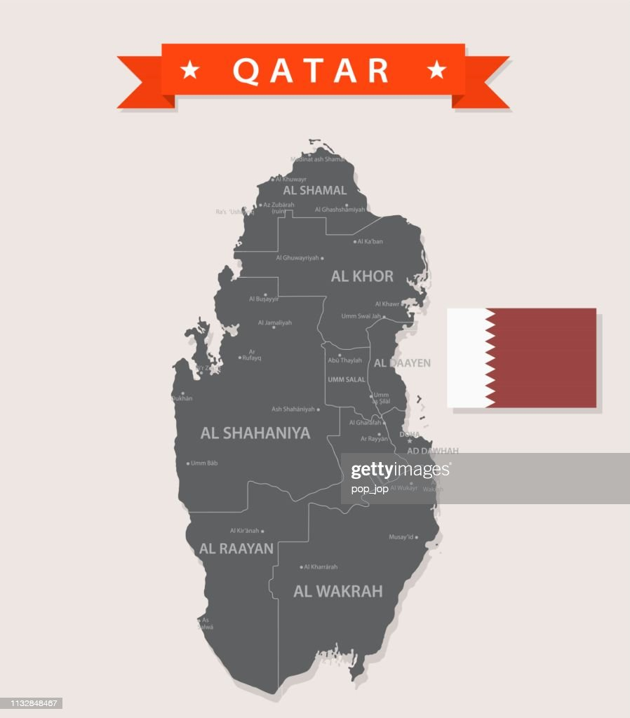 Map Of Qatar Vintage Flat Vector High-Res Vector Graphic ...