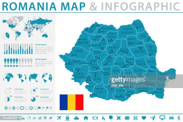 Map of Romania - Infographic Vector