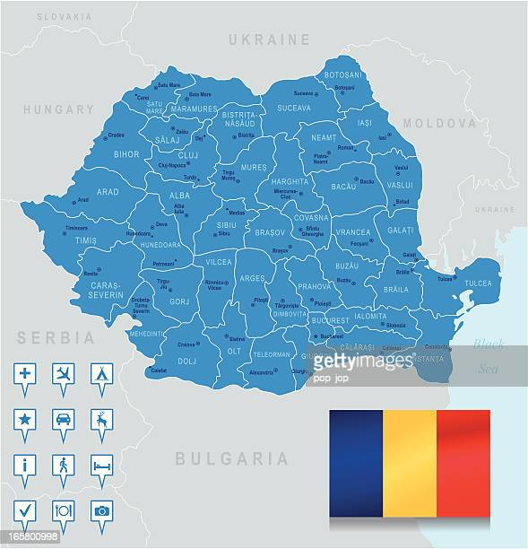 Map of Romania - states, cities, flag, navigation icons