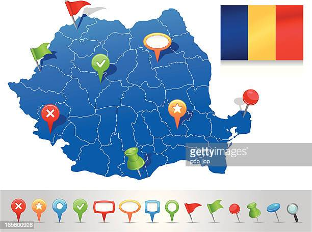 Map of Romania with navigation icons