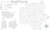 Map of Russell County in Alabama