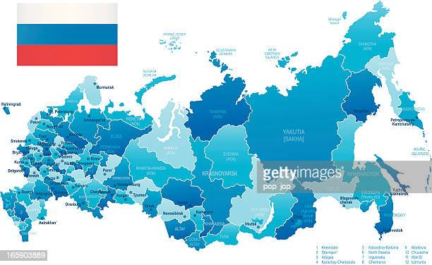 map of russia - states, cities and flag - krasnoyarsk stock illustrations