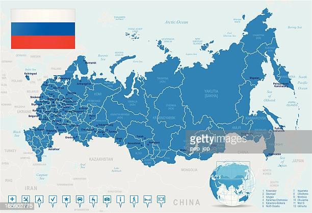 map of russia - states, cities, flag, navigation icons - krasnoyarsk stock illustrations