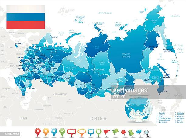 Map of Russia - states, cities, flag, navigation icons