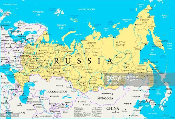 map of russia - vector - russia stock illustrations