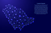 Map of Saudi Arabia from polygonal blue lines and glowing stars vector illustration