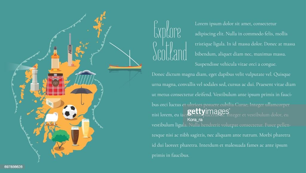 Map of Scotland in article template vector illustration, design element