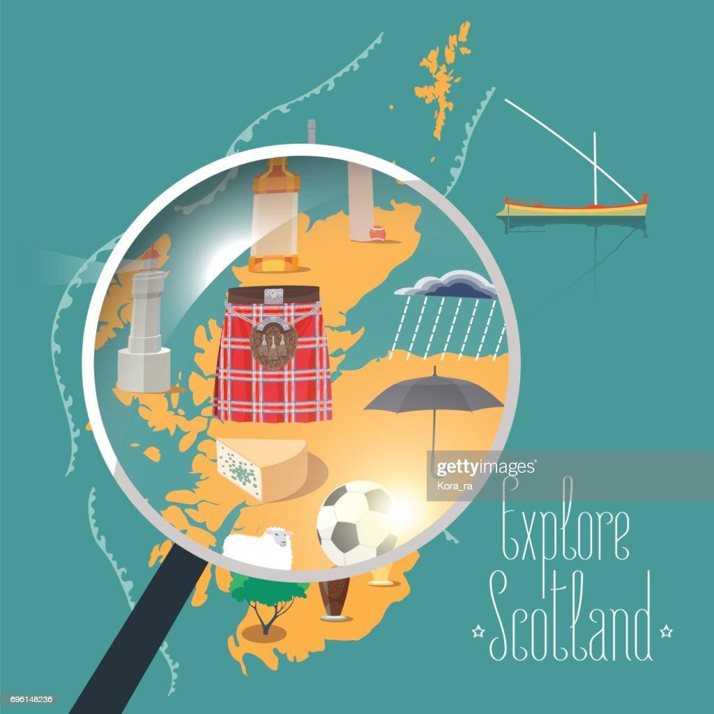 Map of Scotland vector illustration, design element