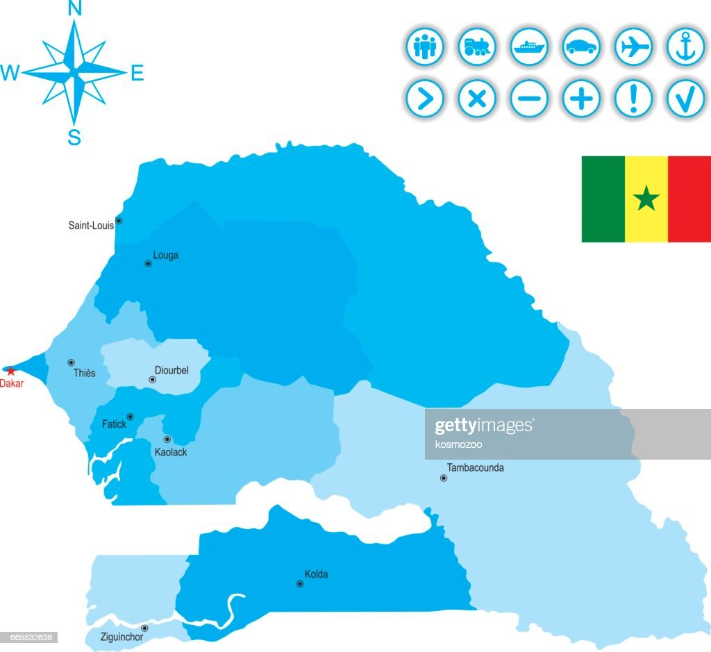Map Of Senegal With Flag Icons And Key Vector Art Getty Images