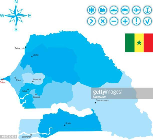 map of senegal with flag, icons and key - senegal stock illustrations, clip art, cartoons, & icons