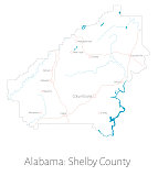 Map of Shelby County in Alabama
