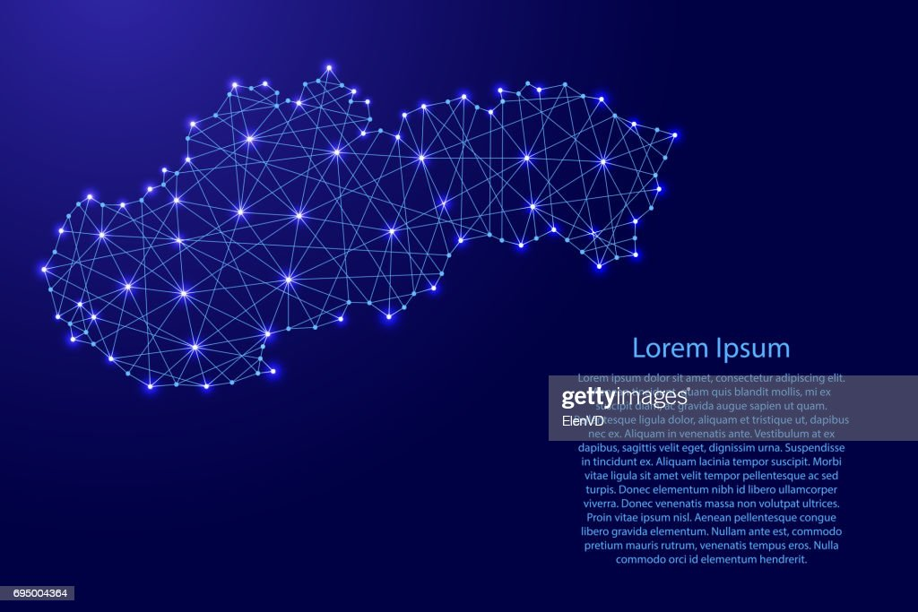Map of Slovakia from polygonal blue lines and glowing stars vector illustration